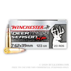 20 Rounds of 7.62x39mm Ammo by Winchester Deer Season XP - 123gr XP