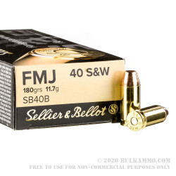 1000 Rounds of .40 S&W Ammo by Sellier & Bellot - 180gr FMJ