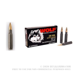 20 Rounds of .308 Win Ammo by Wolf - 150gr FMJ