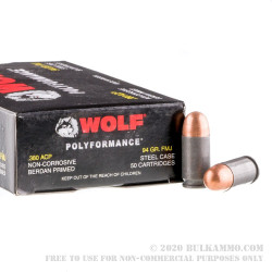 1000 Rounds of .380 ACP Ammo by Wolf - 94gr FMJ