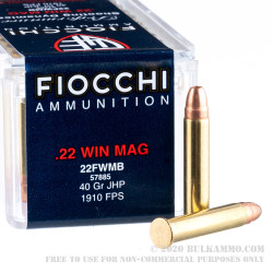 50 Rounds of .22 WMR Ammo by Fiocchi - 40gr JHP