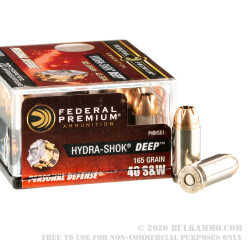 20 Rounds of 40 S&W Ammo by Federal Hydra-Shok Deep - 165gr JHP