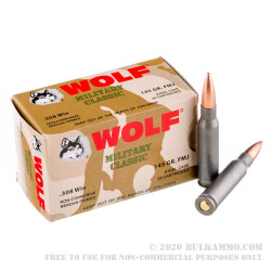 1000 Rounds of .308 Win Ammo by Wolf - 145gr FMJ