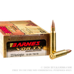 500 Rounds of .223 Ammo by Barnes - 55gr Triple-Shock X