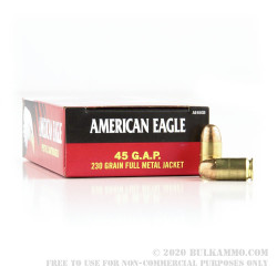 50 Rounds of .45 GAP Ammo by Federal American Eagle - 230gr FMJ