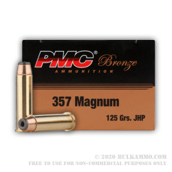 50 Rounds of .357 Mag Ammo by PMC - 125gr JHP