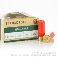 "250 Rounds of 12ga 2-3/4"" Ammo by Sellier & Bellot - 1 ounce #7 1/2 shot"