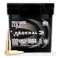 100 Rounds of .224 Valkyrie Ammo by Federal Black Pack - 75gr TMJ