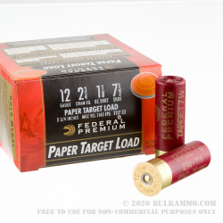 """25 Rounds of 12ga Ammo by Federal Gold Medal Paper - 2-3/4"""" 1 1/8 ounce #7 1/2 shot"""