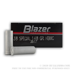50 Rounds of .38 Spl Ammo by Blazer - 148gr HBWC
