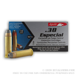 50 Rounds of .38 Spl Ammo by Aguila - 158gr SJHP