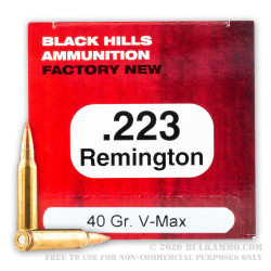 500 Rounds of .223 Ammo by Black Hills Ammunition - 40gr V-MAX