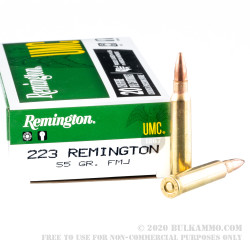 20 Rounds of .223 Ammo by Remington UMC - 55gr FMJ