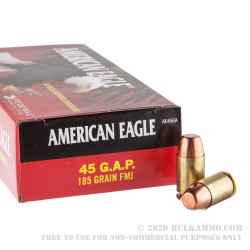 1000 Rounds of .45 GAP Ammo by Federal American Eagle - 185gr FMJ