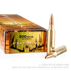 20 Rounds of .300 Win Short Mag Ammo by Federal - 180gr SP