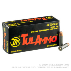 50 Rounds of .38 Spl Ammo by Tula - 130gr FMJ