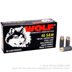 50 Rounds of .40 S&W Ammo by Wolf - 180gr FMJ