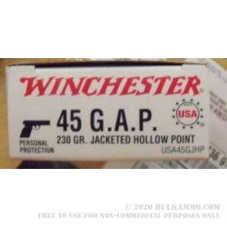 50 Rounds of .45 GAP Ammo by Winchester - 230gr JHP
