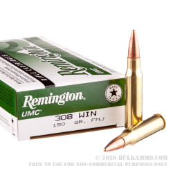 20 Rounds of .308 Win Ammo by Remington UMC - 150gr MC