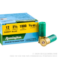 25 Rounds of 12ga Ammo by Remington Disintegrator - 5/8 ounce lead-free frangible sabot slug