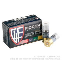 10 Rounds of 12ga Ammo by Fiocchi Exacta - 1 ounce Low Recoil Rifled Slug