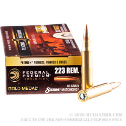 200 Rounds of .223 Ammo by Federal Sierra Match King - 69gr HPBT