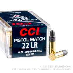 50 Rounds of .22 LR Ammo by CCI - 40gr LRN