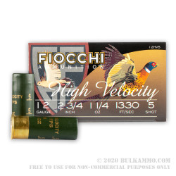 """25 Rounds of 12ga Ammo by Fiocchi - 2-3/4"""" 1 1/4 ounce HV #5 shot"""