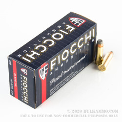 50 Rounds of .38 Spl Ammo by Fiocchi - 158gr JHP