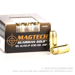 1000 Rounds of .45 ACP +P Ammo by Magtech Guardian Gold - 230gr JHP