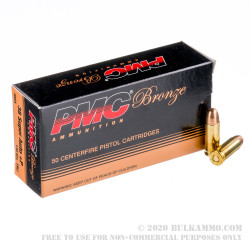 1000 Rounds of .38 Super +P Ammo by PMC Bronze - 130gr FMJ