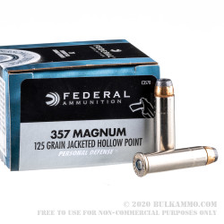 20 Rounds of .357 Mag Ammo by Federal - 125gr JHP