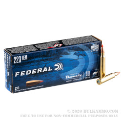20 Rounds of .223 Ammo by Federal Varmint & Predator - 40gr V-MAX