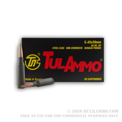 1000 Rounds of 5.45x39mm Ammo by Tula - 60gr HP