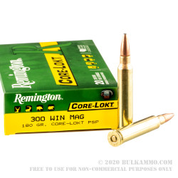 20 Rounds of 300 Win Mag Ammo by Remington - 180gr PSP