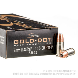 50rds - 9mm Speer LE Gold Dot 115gr. +P+ HP