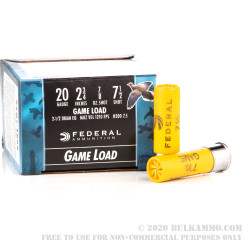 25 Rounds of 20ga Ammo by Federal - 7/8 ounce #7 1/2 shot