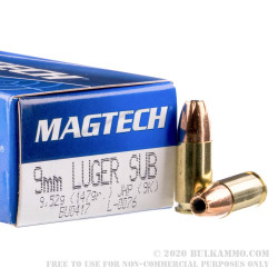 50 Rounds of 9mm Subsonic Ammo by Magtech - 147gr JHP