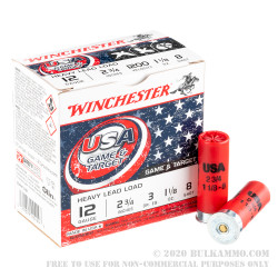 250 Rounds of 12ga Ammo by Winchester USA Game & Target - 1-1/8 ounce #8 shot