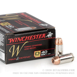 200 Rounds of .40 S&W Ammo by Winchester W Train & Defend - 180gr JHP