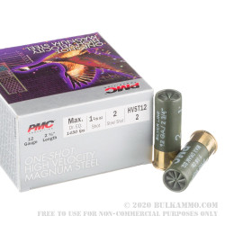 "12 ga - 2-3/4"" - 1 1/8 oz. - Steel #2 Shot - High Velocity Magnum Steel Load - PMC - 250 Rounds"