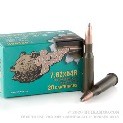 500  Rounds of 7.62x54r Ammo by Brown Bear - 203gr SP