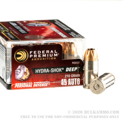 20 Rounds of .45 ACP Ammo by Federal Hydra-Shok Deep - 210gr JHP