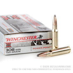 200 Rounds of .308 Win Ammo by Winchester - 150gr Power Point
