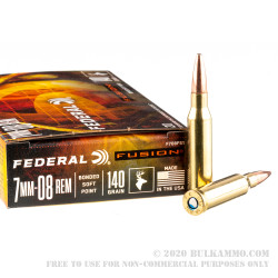 20 Rounds of 7mm-08 Ammo by Federal - 140gr Fusion