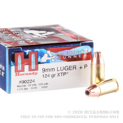 25 Rounds of 9mm +P Ammo by Hornady - 124gr JHP
