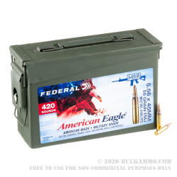 420 Rounds of 5.56x45 Ammo by Federal American Eagle in Ammo Can - 55gr FMJBT XM193