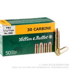 50 Rounds of .30 Carbine Ammo by Sellier & Bellot - 110gr FMJ