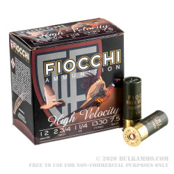 """25 Rounds of 12ga Ammo by Fiocchi High Velocity - 2 3/4"""" 1 1/4 ounce #7 1/2 shot"""
