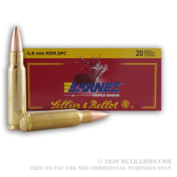 20 Rounds of 6.8 SPC Ammo by Sellier & Bellot - 110gr Barnes TSX